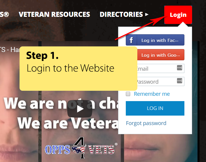 Step 1 - Login to the website
