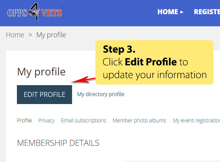 Step 3 - Click Edit Profile